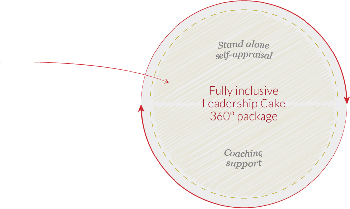 Stand alone self-appraisal & coaching support = fully inclusive Leadership Cake 360º package